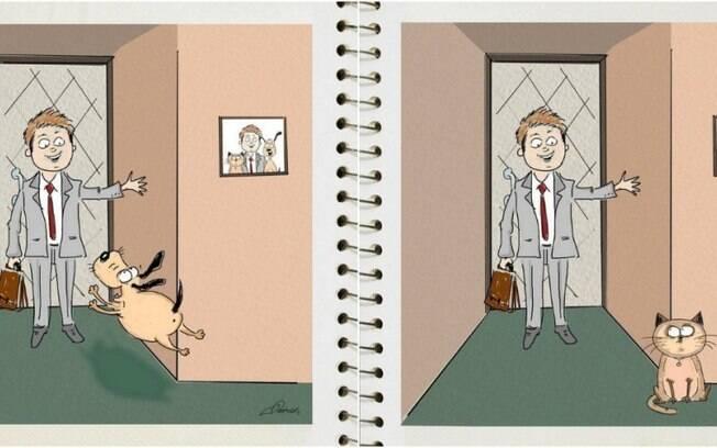O cachorro felizão com o dono chegando em casa e o gato 100% nem aí.