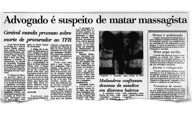 Jornal noticia morte de Claudete e fala sobre suspeita de Bivar