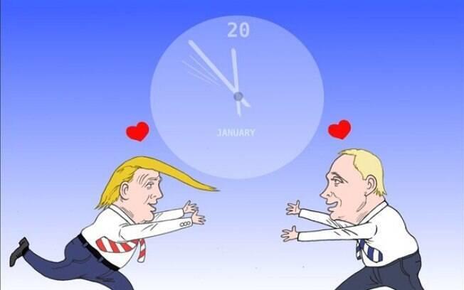 Trump e Putin correm em direção um ao outro apaixonados enquanto o relógio marca 20 de janeiro, data da posse de Trump