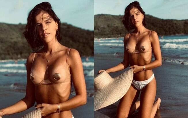 Mariana Rios compartilhou uma foto nas redes em que aparece na praia e seguindo a tendência de usar biquíni transparente