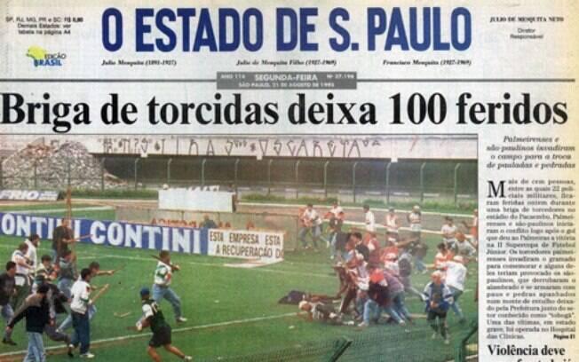 Em 1995 uma briga de torcidas marcou a história de Palmeiras e São Paulo