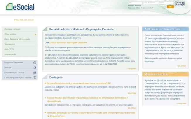 eSocial, portal da Receita Federal para cadastro de patrões e empregados domésticos