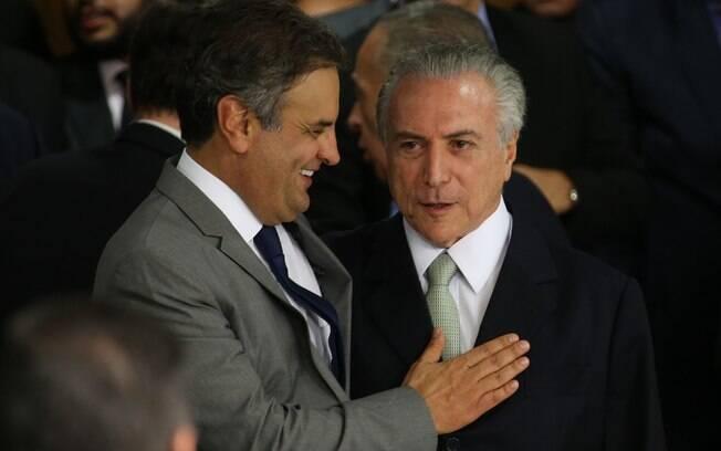 Aécio Neves e Michel Temer, dois dos principais articuladores do impeachment que derrubou Dilma Rousseff