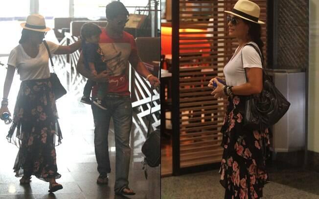 Juliana Paes passeia com o marido e o filho por um shopping no Rio