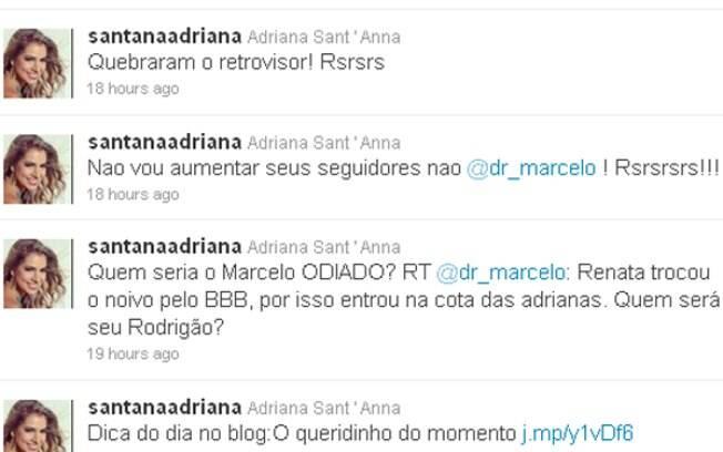 Adriana Sant'Anna responde provocação de Marcelo Arantes
