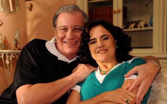 Nanini e Marieta em 2008, nos bastidores das gravações