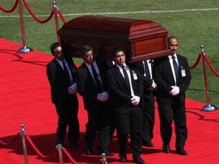 CHAVES - The casket holding the body of Mexican comedian Roberto Gomez Bolanos is carried for a memorial service at the Azteca stadium in Mexico City, Sunday, Nov. 30, 2014. The iconic Mexican comedian who also wrote and played the boy television character