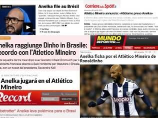 Manchetes de jornais esportivos da França, Portugal e Espanha sobre vinda de Anelka