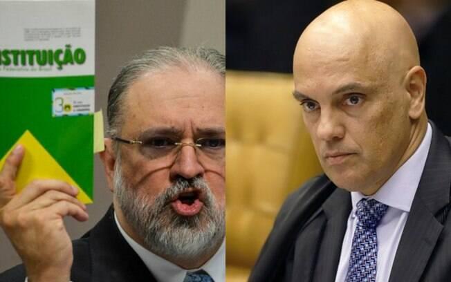 Augusto Aras, à esquerda, e Alexandre de Moraes, à direita
