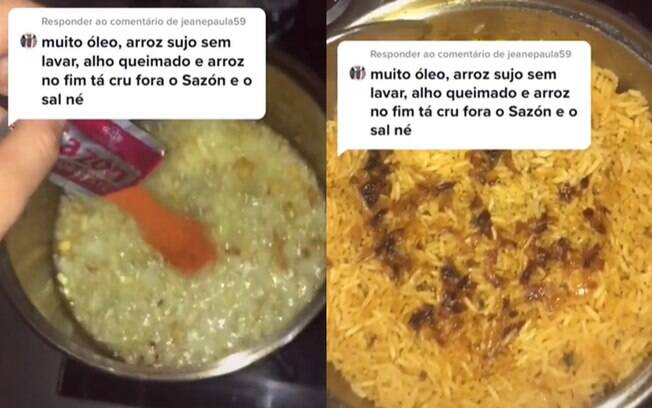 Viraliza receita de arroz com alho queimado, sazon, sal e muito óleo