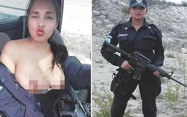 No México, a policial Nidia García posou com os seios à mostra  e segurando um fuzil