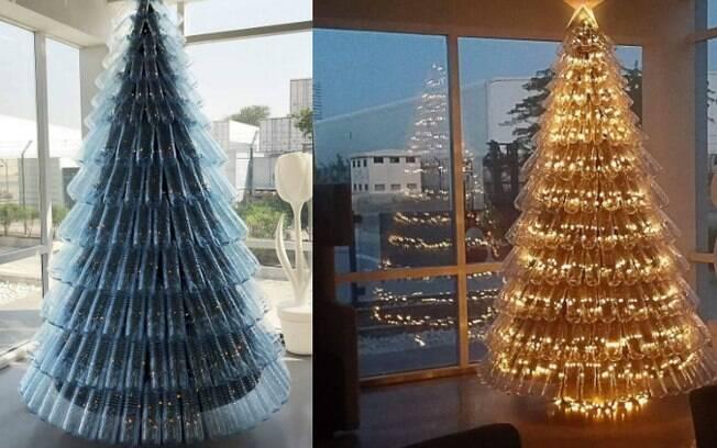 Já pensou em ter uma árvore de Natal feita com garrafa plástica?
