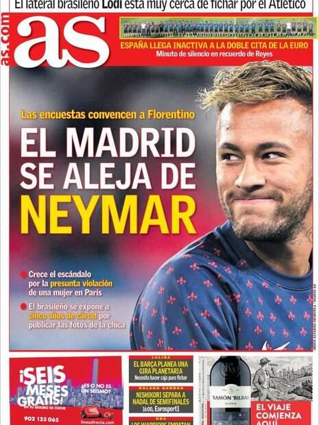 Capa do AS traz Neymar
