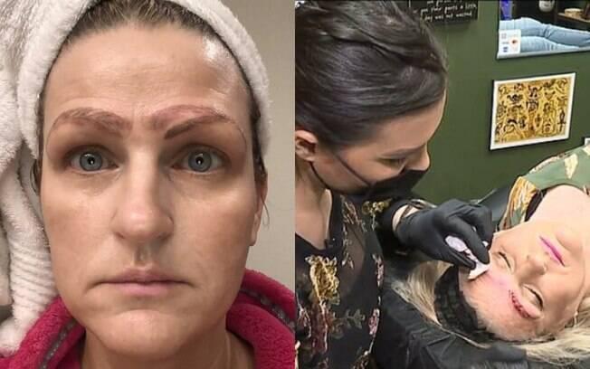 A norte-americana Jami Ledbetter fez um procedimento estético chamado microblading e ficou com quatro sobrancelhas