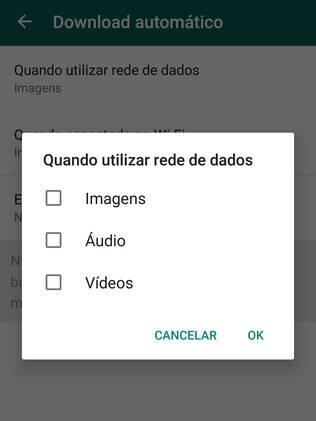 Aplicativo permite que o usuário desabilite o download automático de arquivos
