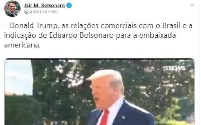Donald Trump foi um dos perfis mais mencionados pela família Bolsonaro no Twitter