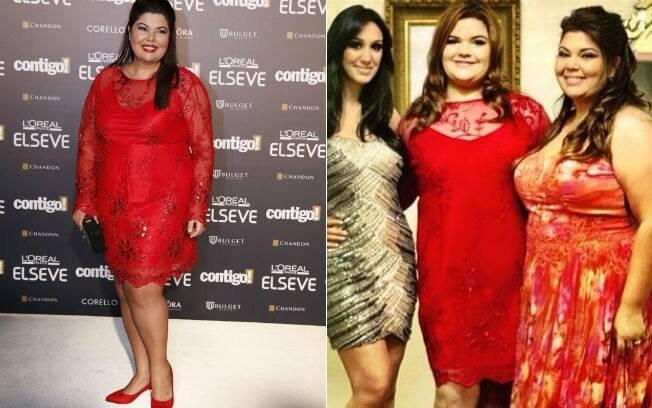 Fabiana Karla durante o Prêmio Contigo e foto de novembro de 2013 do aniversário de 15 anos da filha: o mesmo vestido