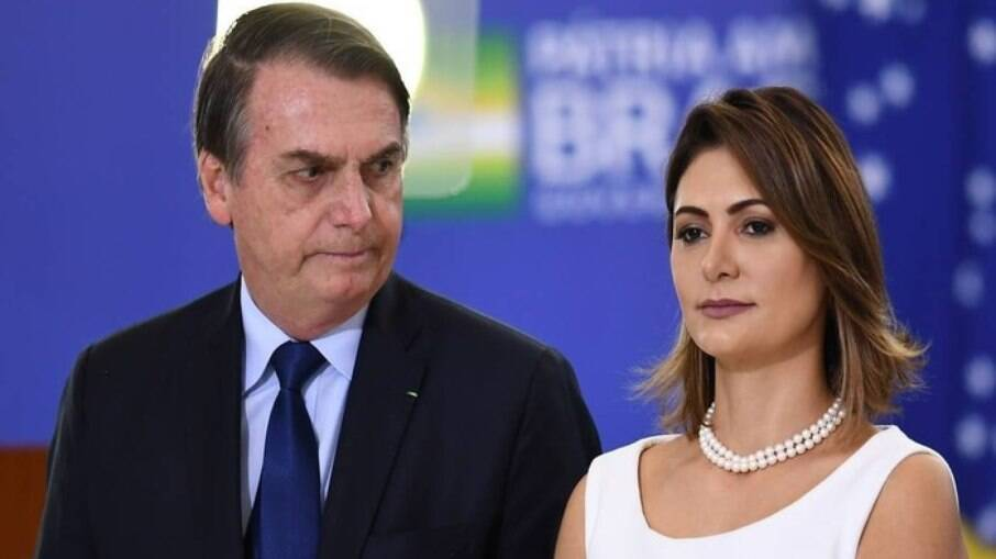 A primeira-dama, Michelle Bolsonaro e Jair Bolsonaro