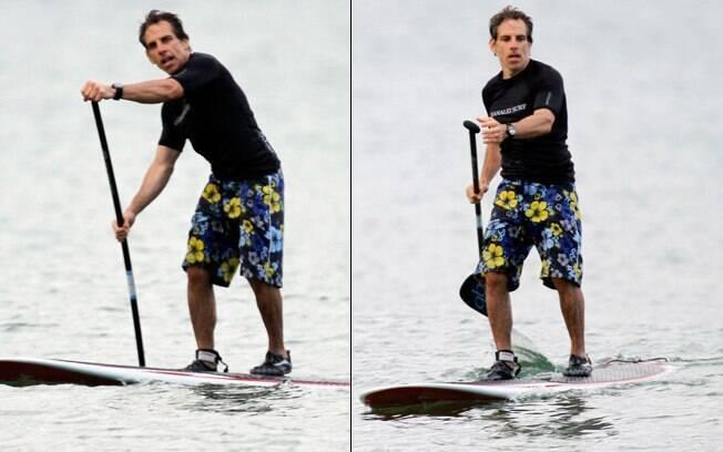 Ben Stiller pratica o stand up paddle, o surfe com remo