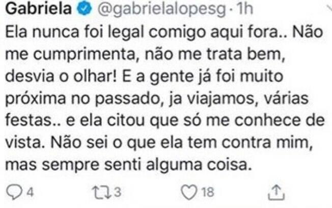 Tuíte de Gabi Lopes