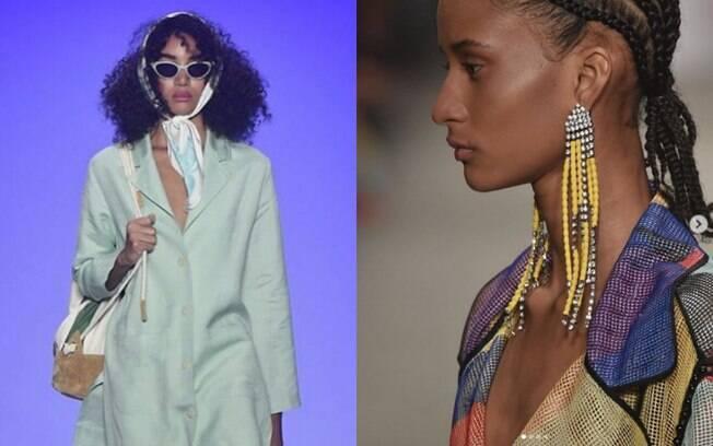O minimalismo apresentado nos looks da SPFW foi contraposto pelos acessórios maxi, principalmente brincos e colares