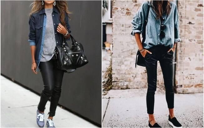 Outra tendência observada pela rede social para calças de couro é combinar a peça com camisas jeans