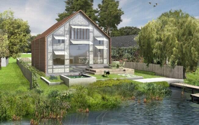 Com 225 m², a casa ficará apoiada entre quatro postes verticais que manteriam a construção flutuante no lugar durante uma enchente