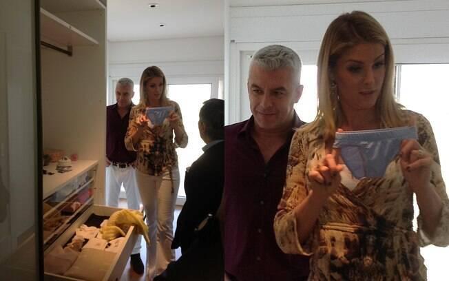 Durante a entrevista a Paulo Henrique Amorin, Ana Hickmann mostrou o guarda-roupa do bebê, que segundo ela, já está em construção há 14 anos