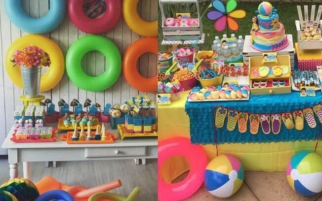 Para uma festa da praia, a mesma pode ser decorada com itens de verão, como doces em formato de picolés coloridos