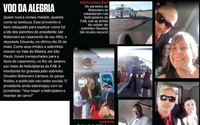Parentes de Bolsonaro pegaram carona em helicóptero da FAB para ir ao casamento de Eduardo Bolsonaro