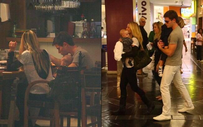 Jonatas Faro e Danielle Winits jantam acompanhados por Guy e Noah