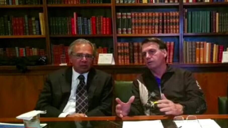 Paulo Guedes e Bolsonaro em live