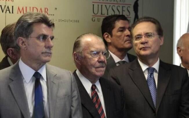 Jucá, Renan e Sarney em reunião do partido. Os três são suspeitos de tentar obstruir a Lava Jato
