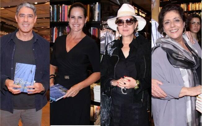 William Bonner, Renata Ceribelli, Bety Lago e Leda Nagle também marcaram presença no lançamento do livro de Edney Silvestre