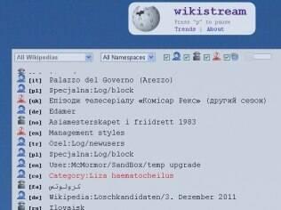 Wikistream mostra em tempo real as alterações na Wikipedia