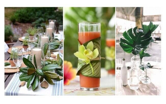 Folhagens também podem estar presentes na mesa do jantar, seja em arranjos, seja como forma de enfeitar os itens da mesa