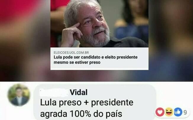 Internauta dá sugestão que segundo ele, agradará a toda população brasileira, sem exceções: Lula preso e presidente