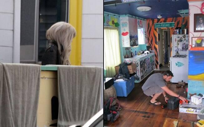 Na esquerda, Lady Gaga na porta da casa do namorado. Na direita, o interior do apartamento