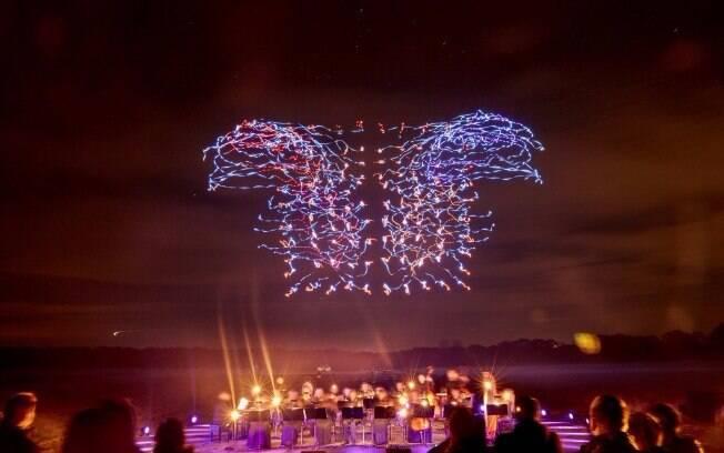 Drones voaram em sincronia com a apresentação da Quinta Sinfonia de Beethoven