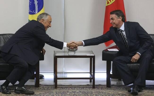 Presidente de Portugal se encontrou com o presidente do Brasil, Jair Bolsonaro, nesta manhã, em Brasília