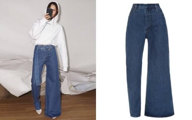 Modelo de calça jeans assimétrica foi criado pela marca Ksenia Schnaider e causou polêmica entre fashionistas