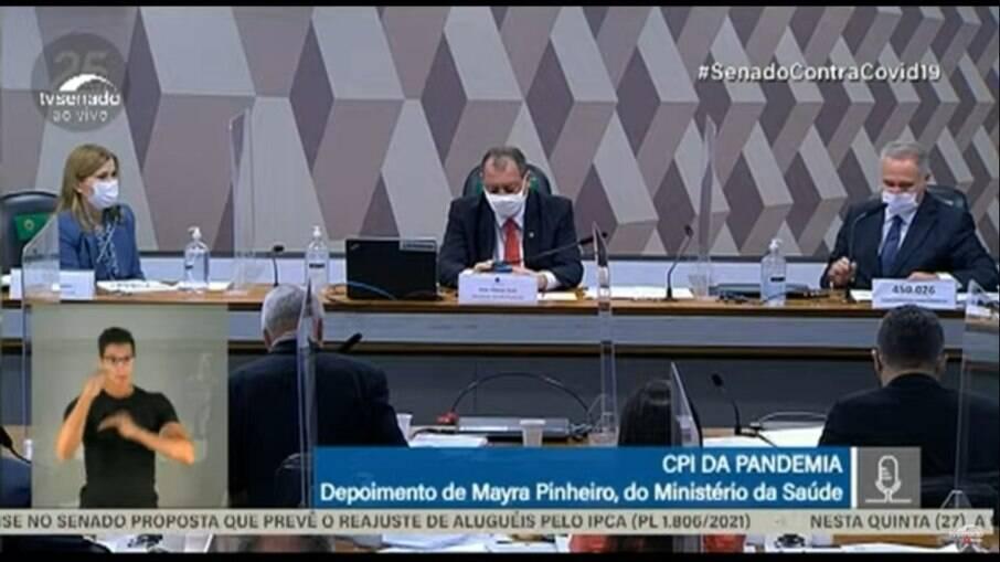 Mayra Pinheiro presta depoimento à CPI da Covid-19