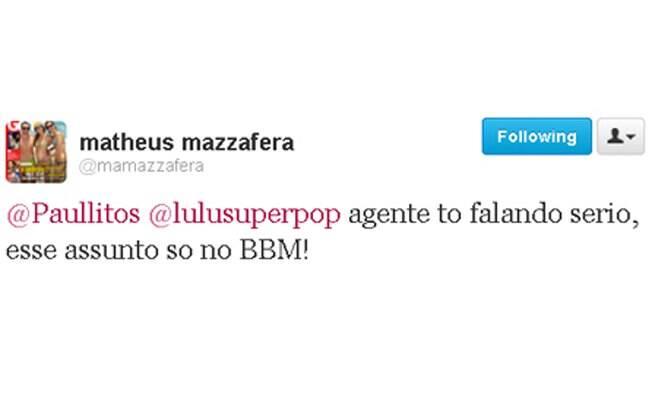 Matheus Mazzefera tentou acalmar os nervos da Luciana Gimenez