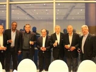 Os mandatários da CBF, José Maria Marín e Marco Polo Del Nero acompanharam o sorteio da Copa América, no Chile