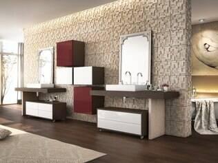 Vinho chique. Sala de banho criadapor Bruno Garcia Athayde, arquiteto da Simonetto