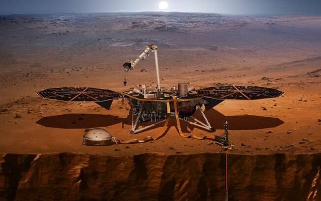 Sonda InSight vai perfurar cinco metros da superfície de Marte para medir temperatura e tremores do planeta