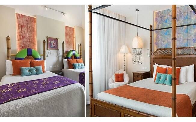 Nos quartos, as camas têm dosséis que imitam bambu e são bastante parecidas com as do personagem no desenho