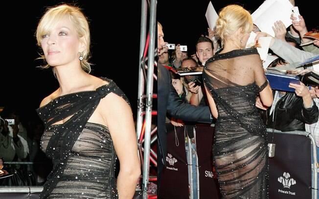 Uma Thurman ousou no visual e estava com um vestido praticamente transparente diante dos flashes dos paparazzi