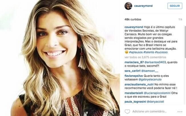 Cauã Reymond fala sobre Grazi no Instagram: