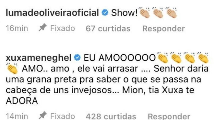 Xuxa comemora ida de Mion em comentário no Instagram